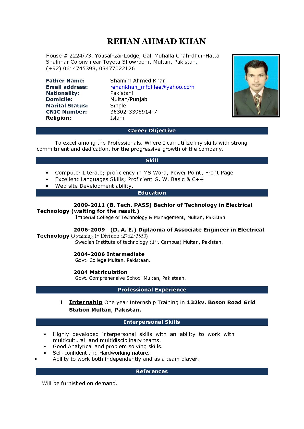 004 Curriculum Vitae Templates Microsoft Word Cv Pattern 2 Regarding Resume Templates Word 2010