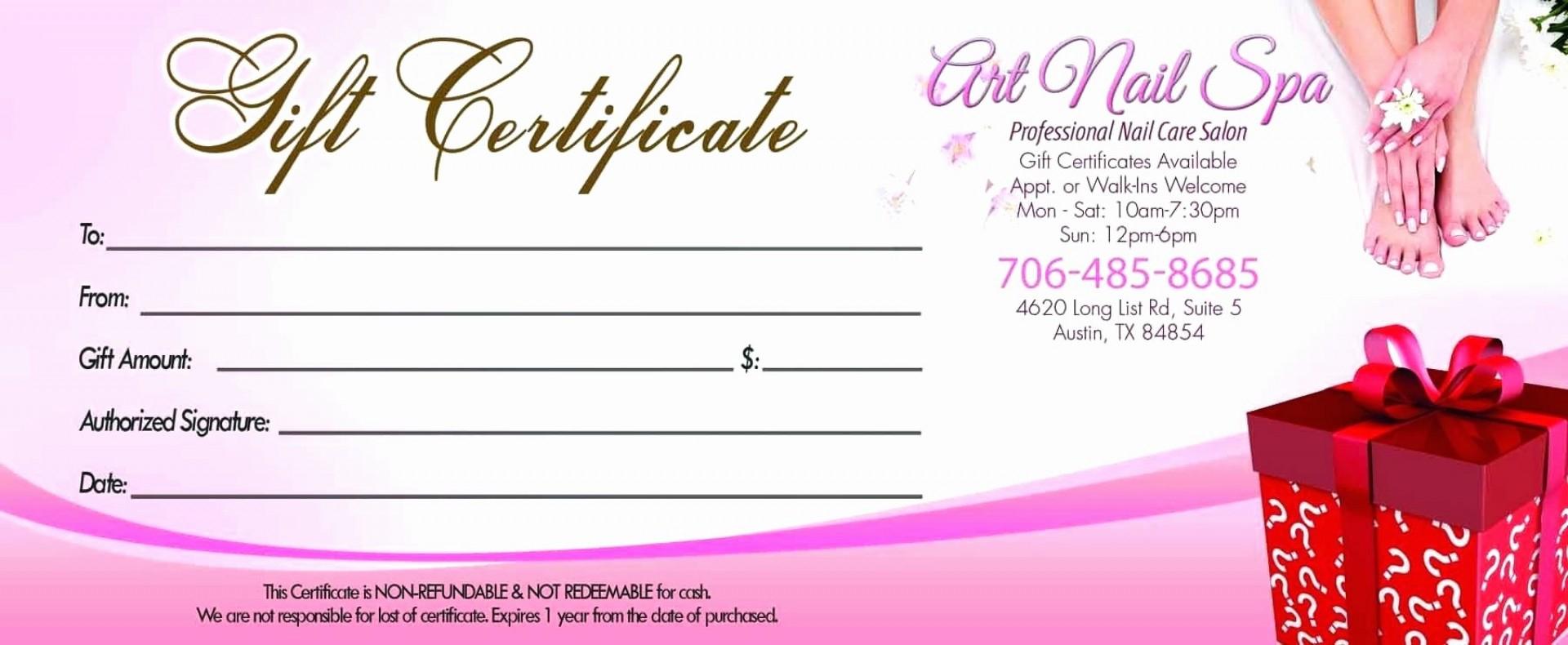 011 Template Ideas Salon Gift Amazing Certificate Printable With Nail Gift Certificate Template Free