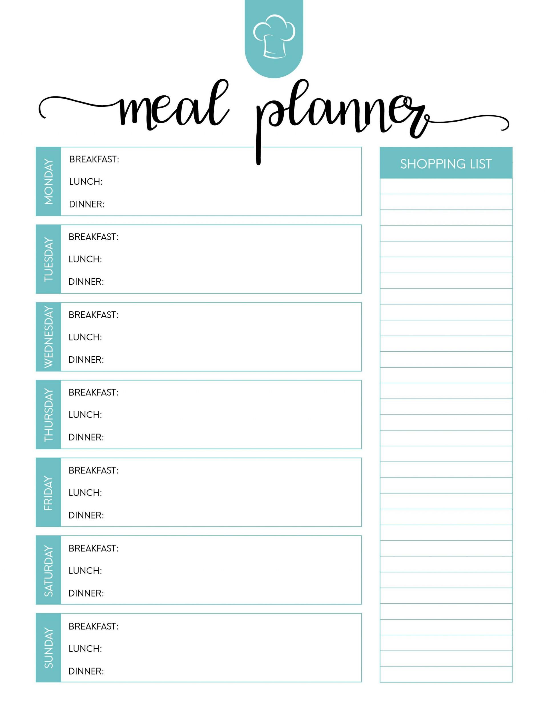 025 Template Ideas Free Menu Planner Meal Plan Awesome Regarding Menu Planning Template Word
