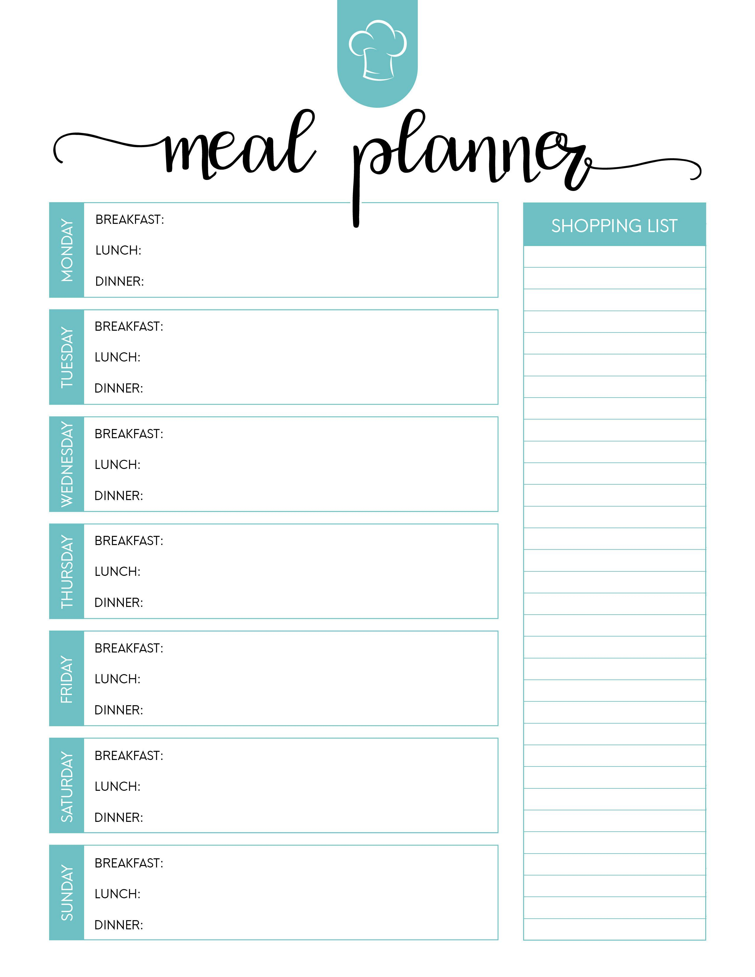 025 Template Ideas Free Menu Planner Meal Plan Awesome Within Meal Plan Template Word