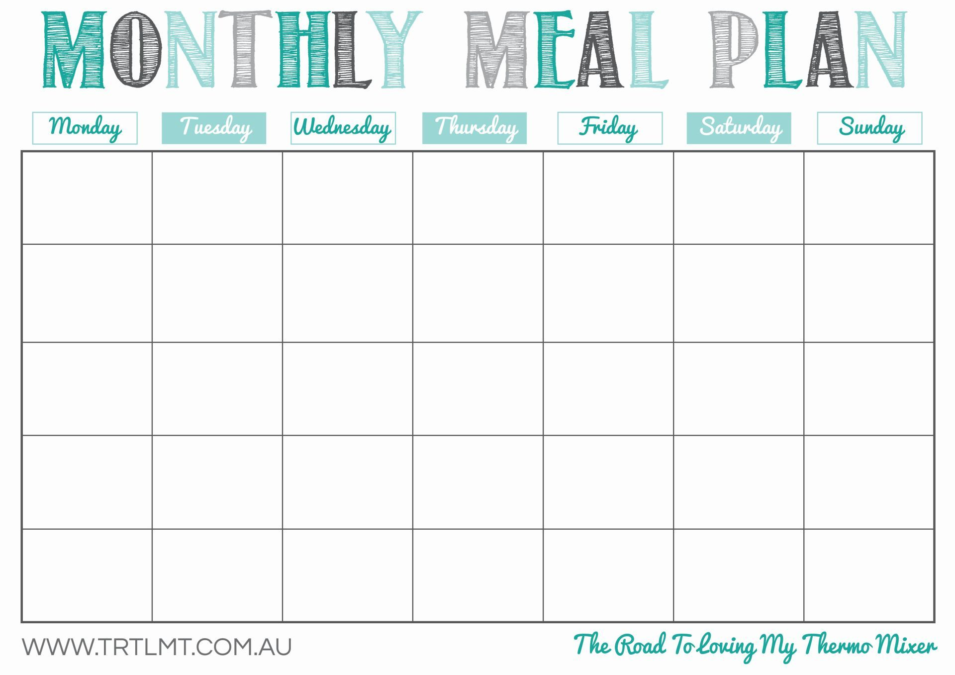 030 Monthly Meal Planner Template Free Menu Awesome Ideas Within Meal Plan Template Word
