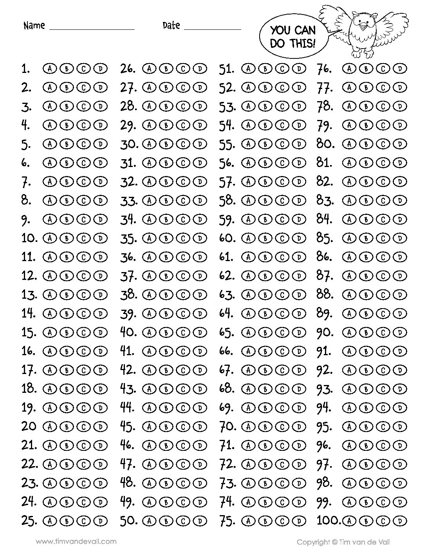 100 Question Answer Sheet - Tim's Printables Regarding Blank Answer Sheet Template 1 100