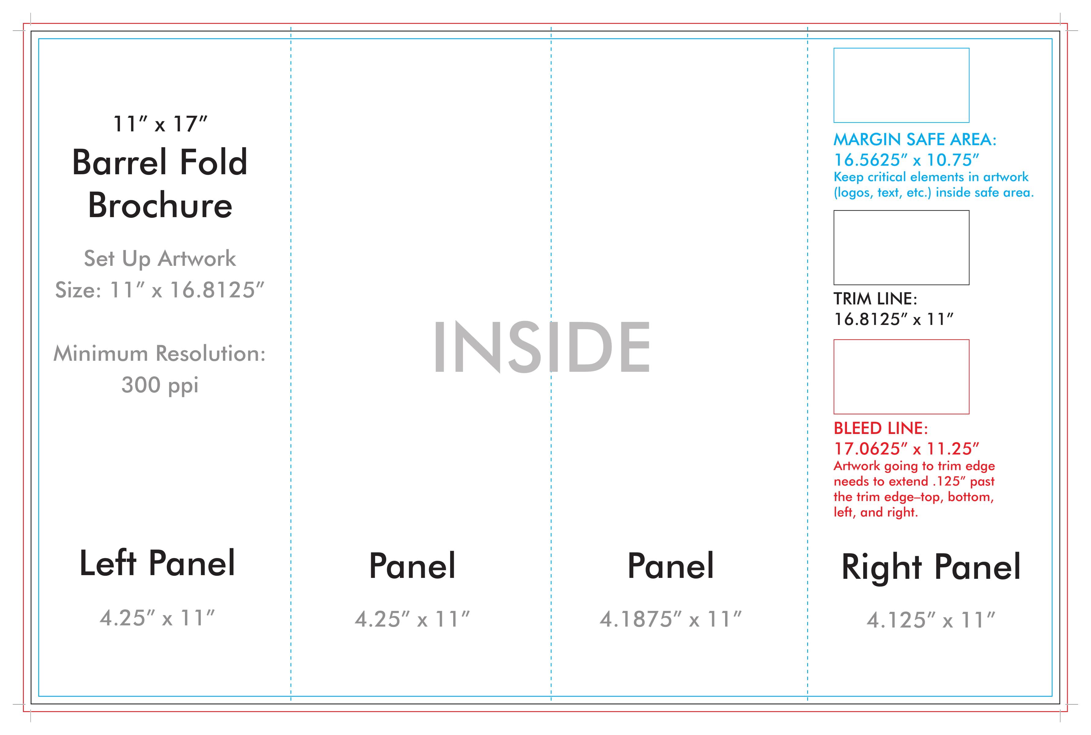 "11"" X 17"" Barrel Fold Brochure Template - U.s. Press With Regard To 4 Panel Brochure Template"