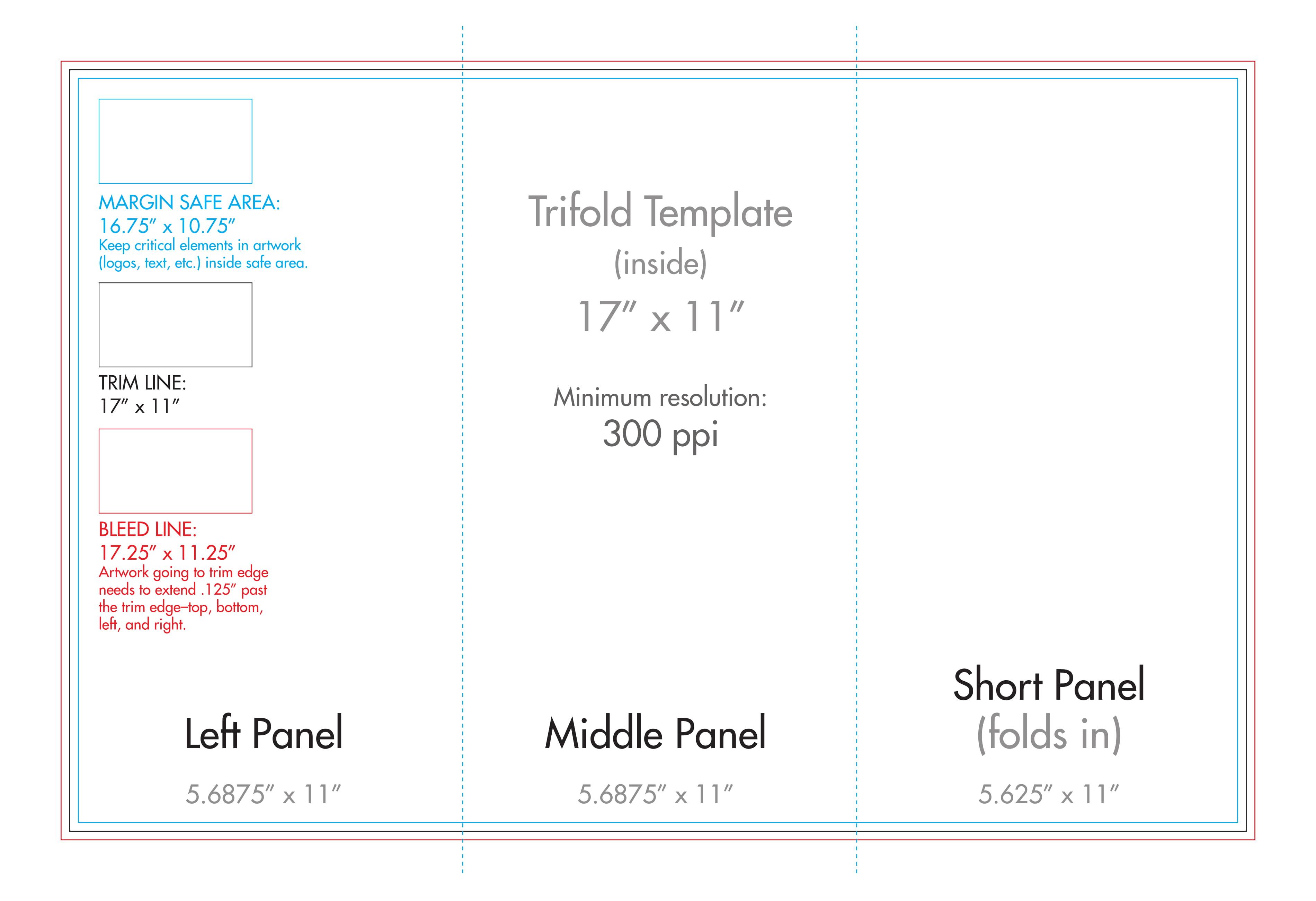 "11"" X 17"" Tri Fold Brochure Template - U.s. Press With 11X17 Brochure Template"