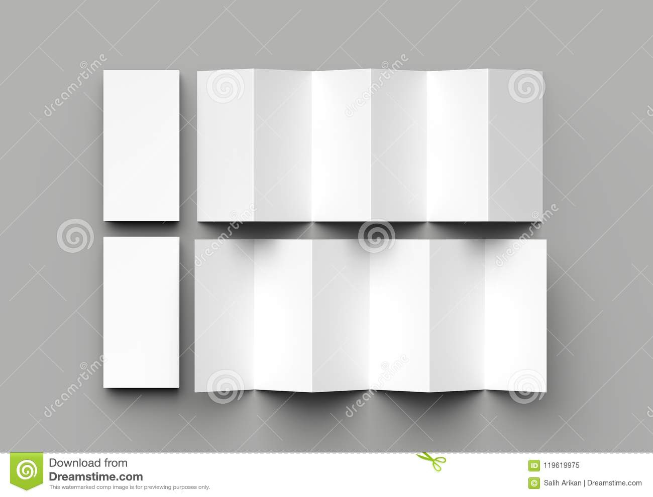 12 Page Leaflet, 6 Panel Accordion Fold - Z Fold Vertical Within 12 Page Brochure Template