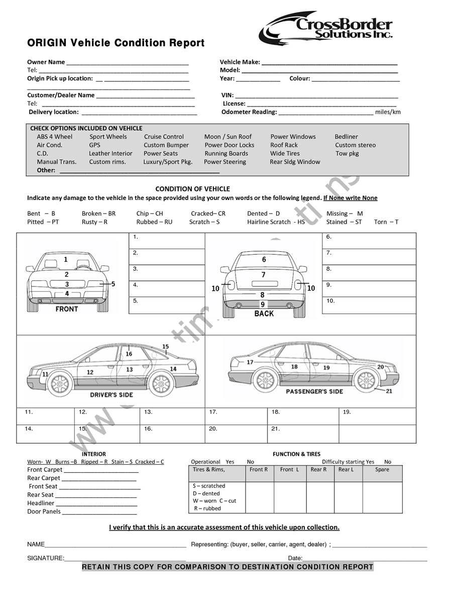 12+ Vehicle Condition Report Templates - Word Excel Samples Throughout Car Damage Report Template