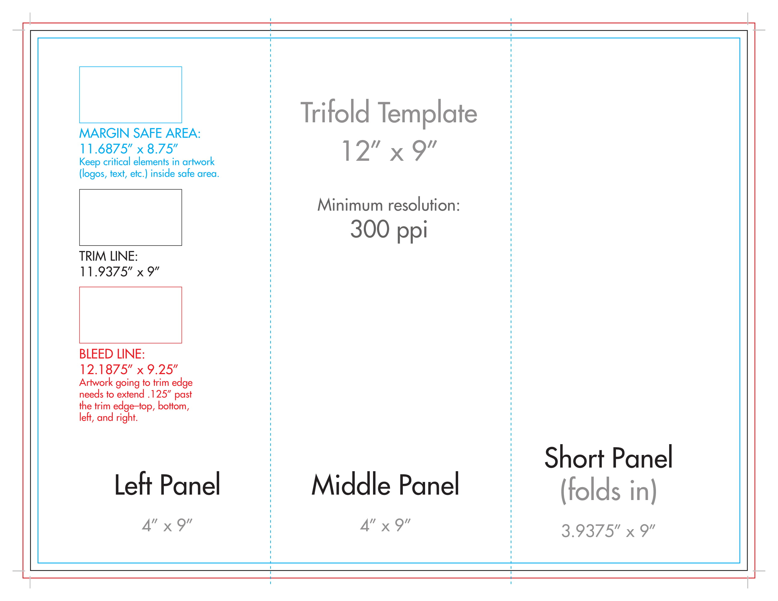 "12"" X 9"" Rack Brochure Template (Tri Fold) - U.s. Press Intended For Brochure Folding Templates"