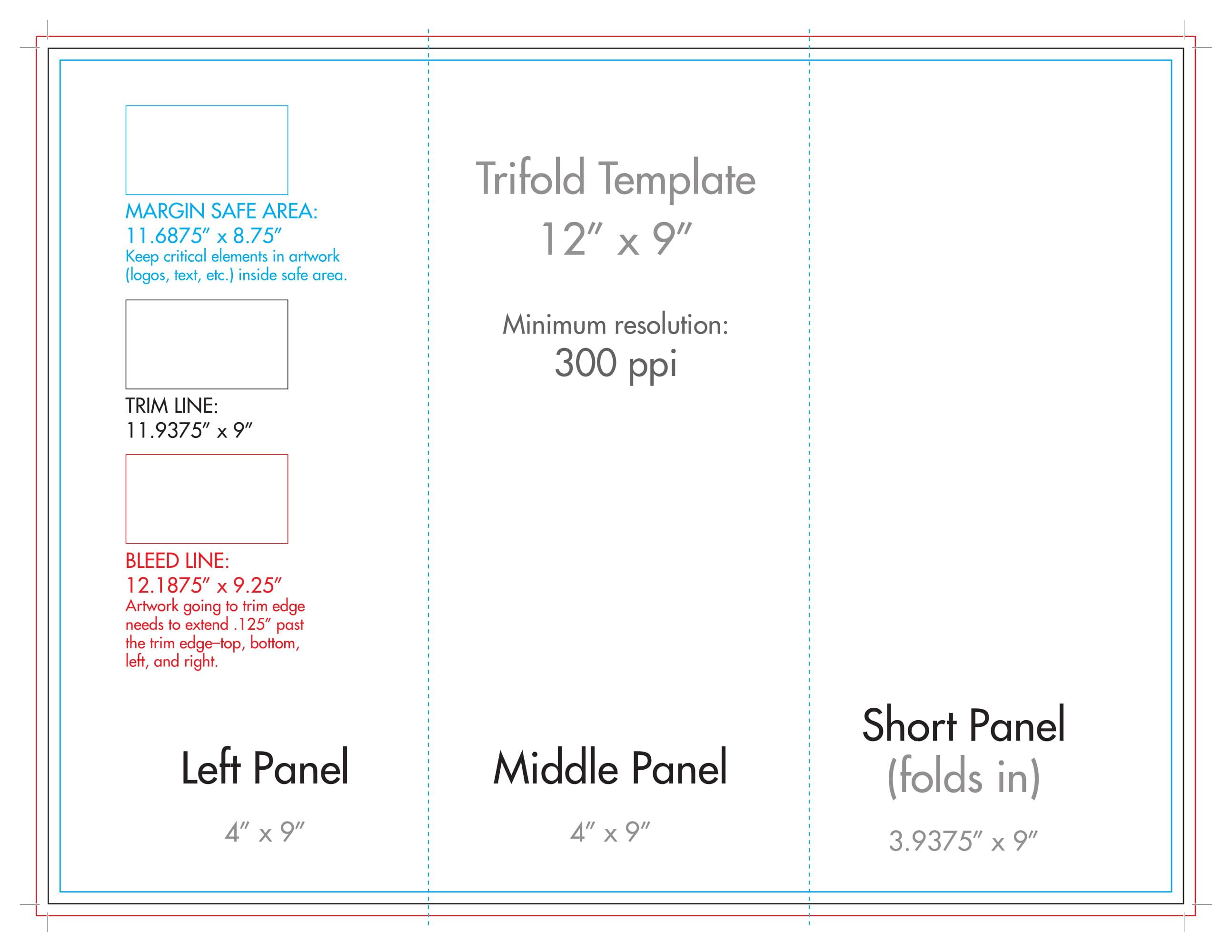 "12"" X 9"" Rack Brochure Template (Tri Fold) – U.s. Press Throughout Three Panel Brochure Template"