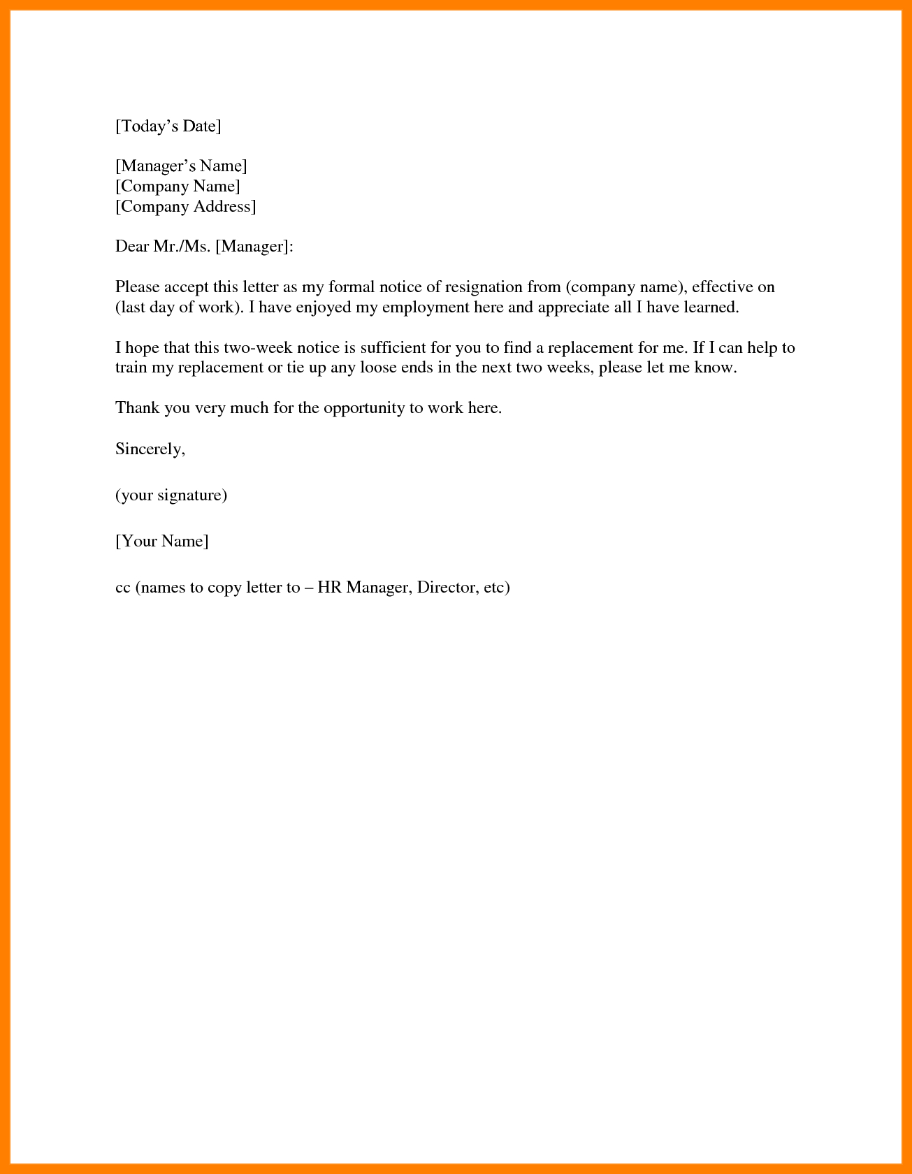14+ Two Weeks Notice Template Word | Management On Call For Two Week Notice Template Word