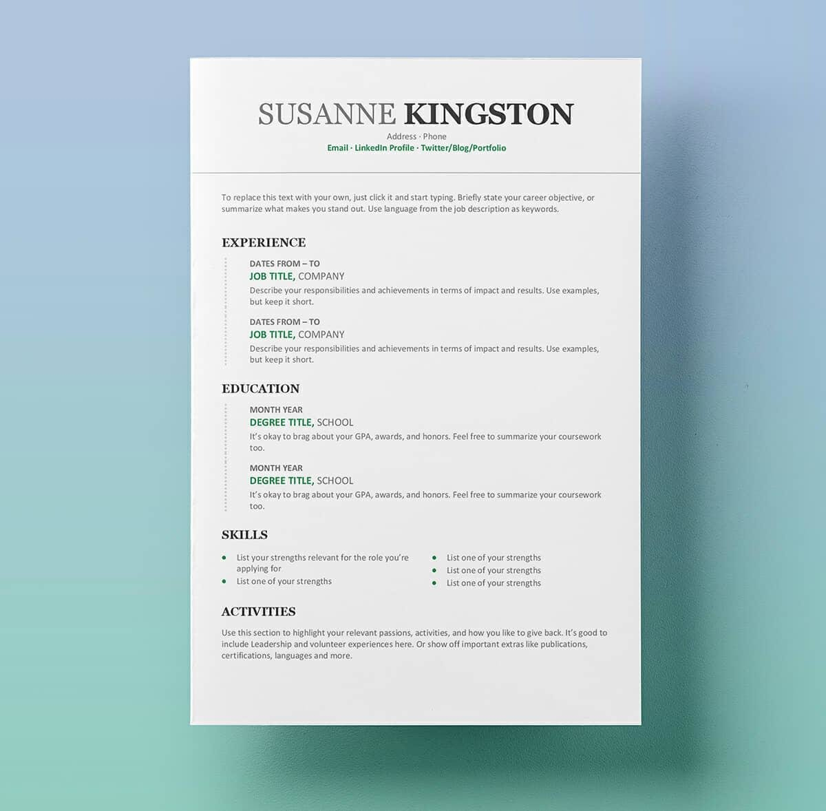 15+ Resume Templates For Word (Free To Download) Inside Microsoft Word Resumes Templates