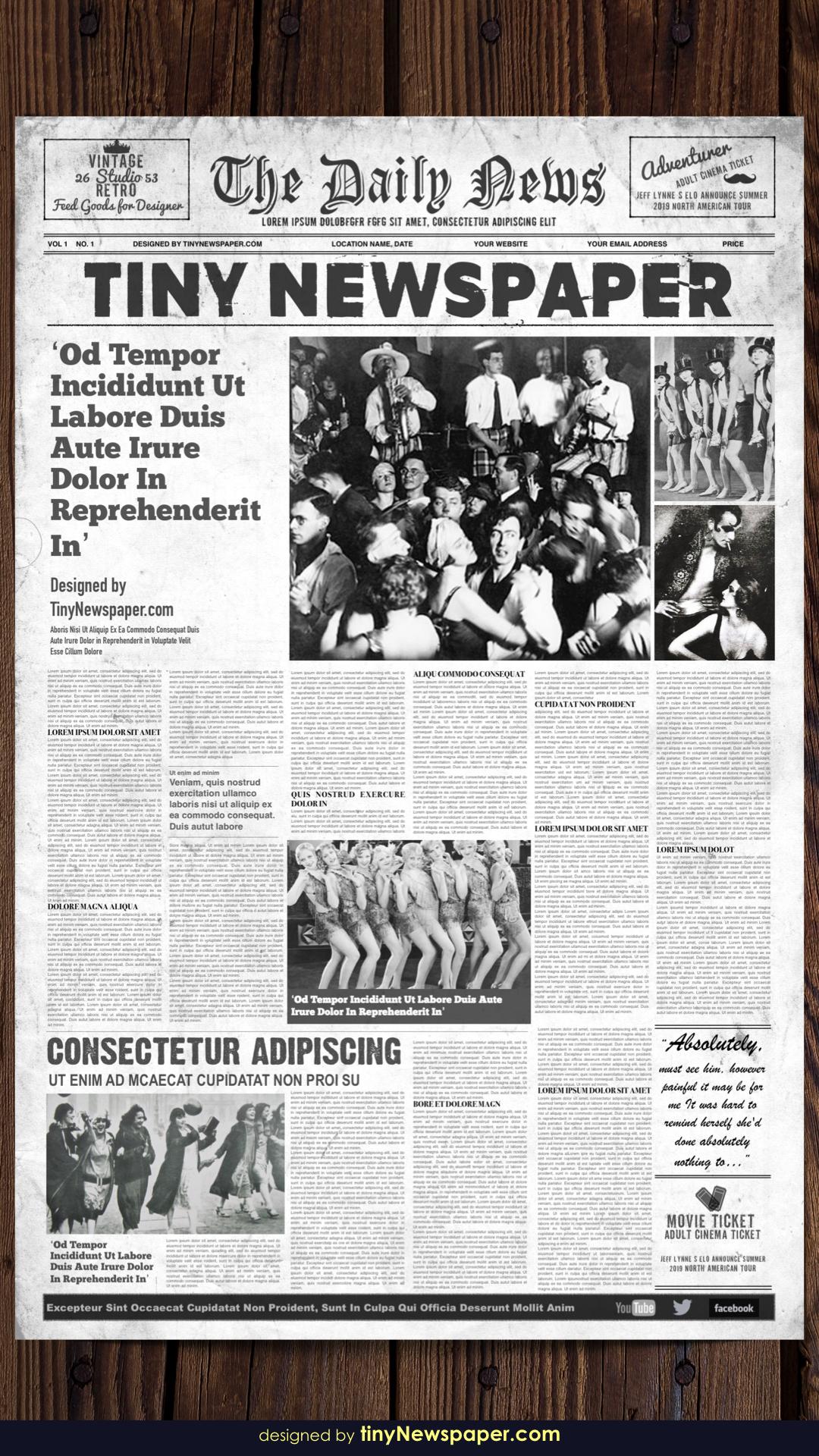 1920's Vintage Newspaper Template Word Regarding Old Newspaper Template Word Free
