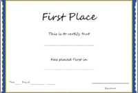 1St Place Award Certificate Template In First Place Award Certificate Template