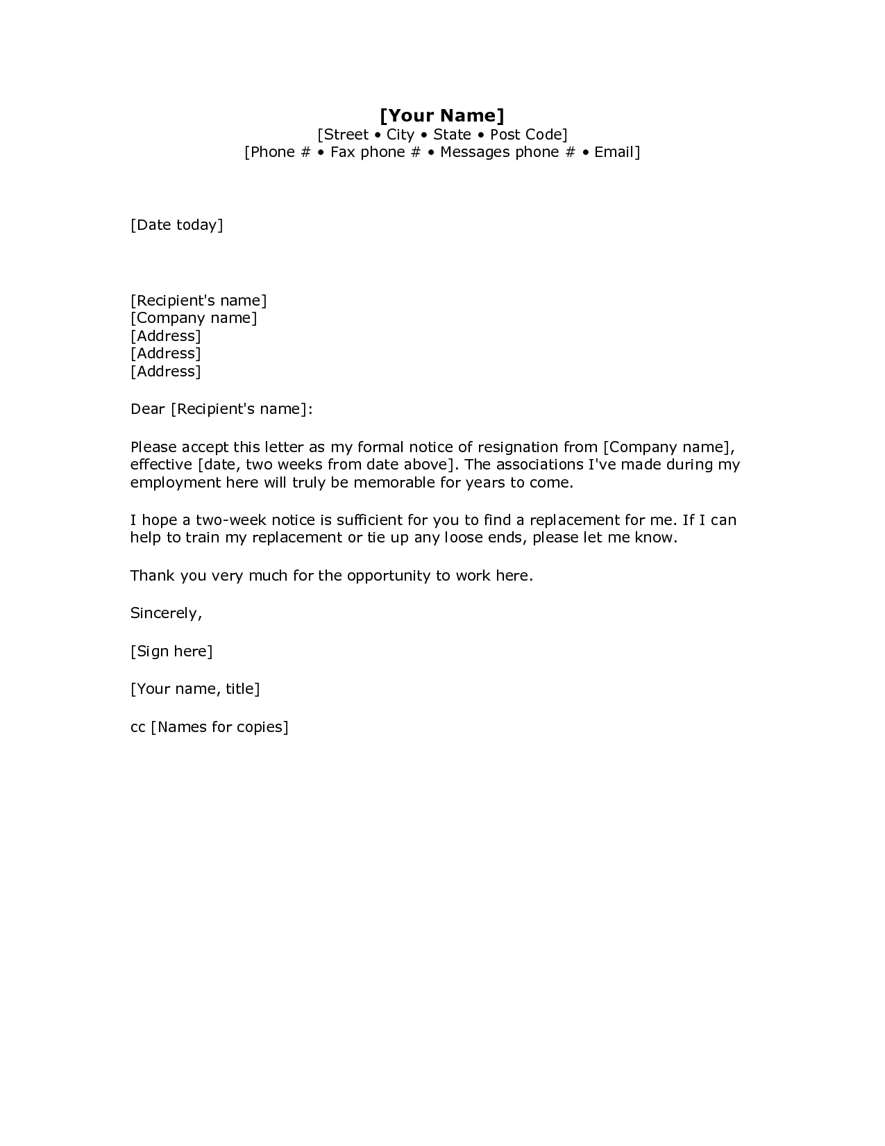 2 Weeks Notice Letter Resignation Letter Week Notice Words For Two Week Notice Template Word