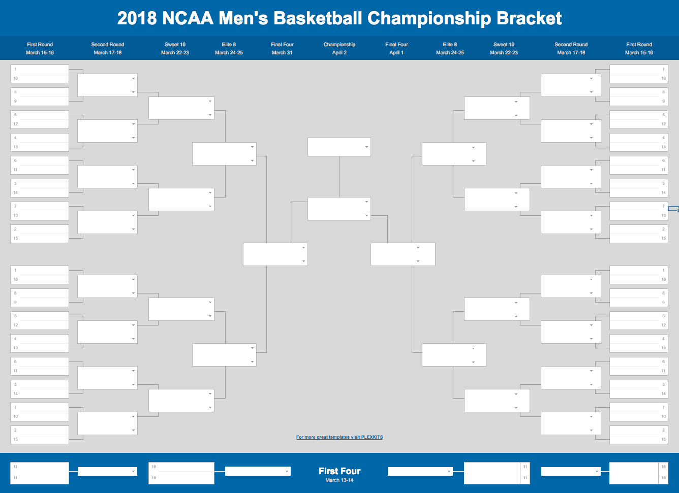 2019 March Madness Bracket (Excel And Google Sheets Template) Intended For Blank March Madness Bracket Template