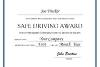 27 Images Of Driver Of The Month Certificate Template for Safe Driving Certificate Template