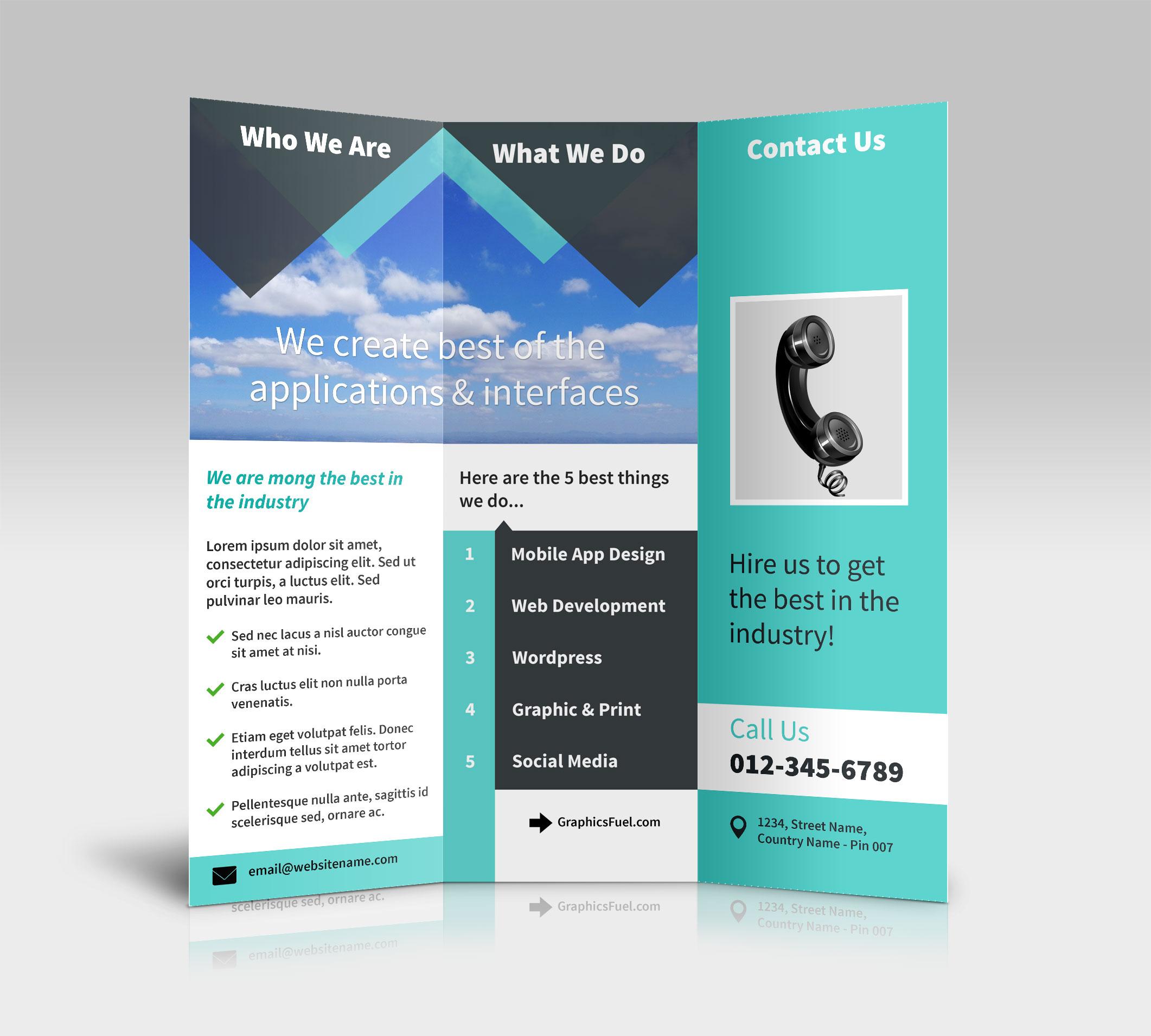 3 Panel Tri Fold Brochure Psd Mockups – Psd Mockups With Regard To Three Panel Brochure Template