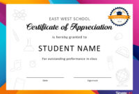 30 Free Certificate Of Appreciation Templates And Letters inside Free Student Certificate Templates