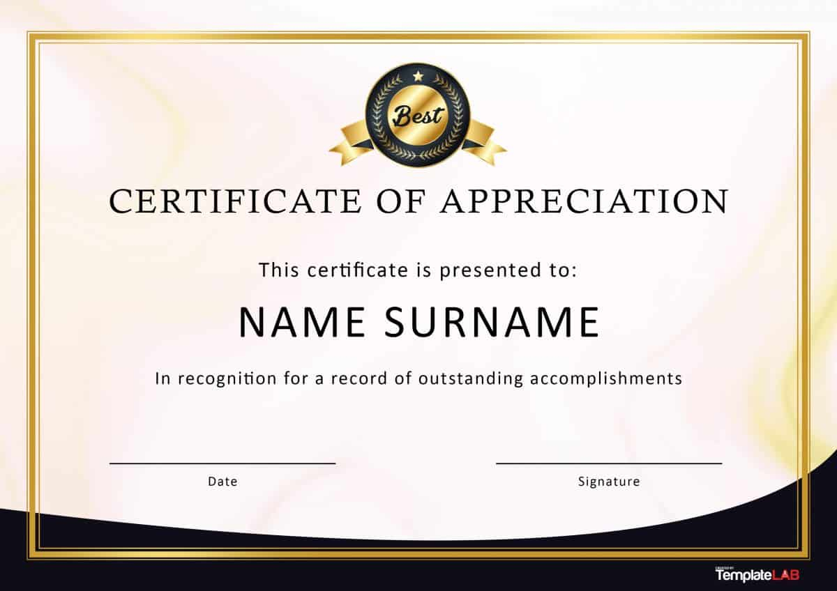 30 Free Certificate Of Appreciation Templates And Letters Throughout Thanks Certificate Template