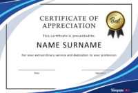 30 Free Certificate Of Appreciation Templates And Letters with Employee Recognition Certificates Templates Free