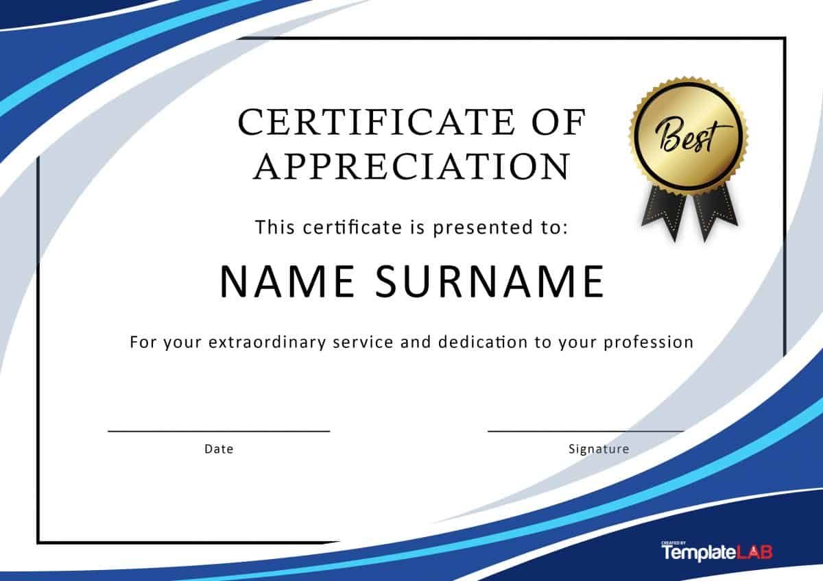 30 Free Certificate Of Appreciation Templates And Letters With Regard To Free Certificate Of Excellence Template