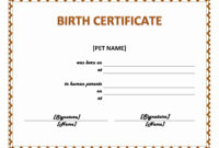30 Free Pet Birth Certificate Template | Pryncepality within Blank Adoption Certificate Template