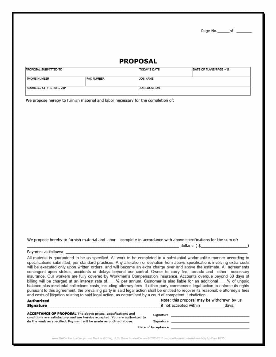 31 Construction Proposal Template & Construction Bid Forms For Free Construction Proposal Template Word