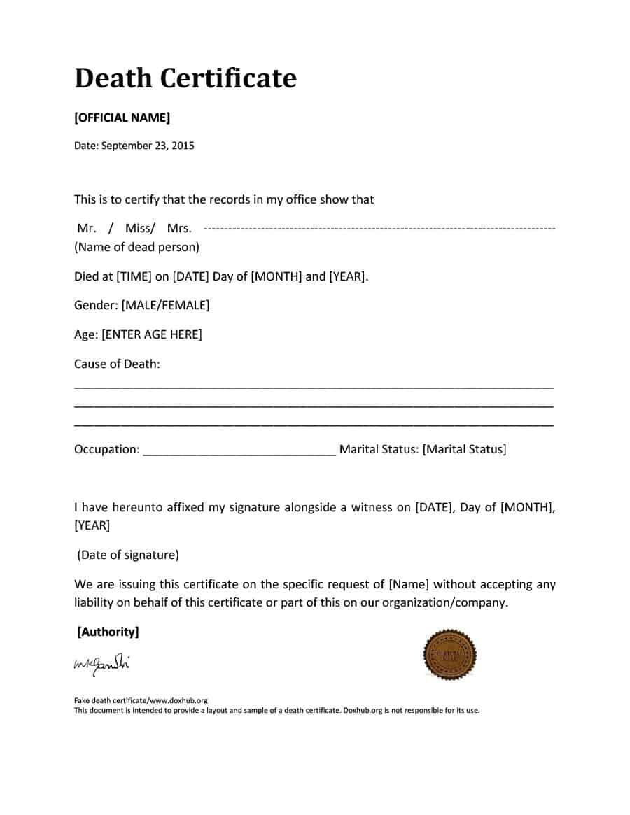 37 Blank Death Certificate Templates [100% Free] ᐅ Template Lab Regarding Fake Death Certificate Template