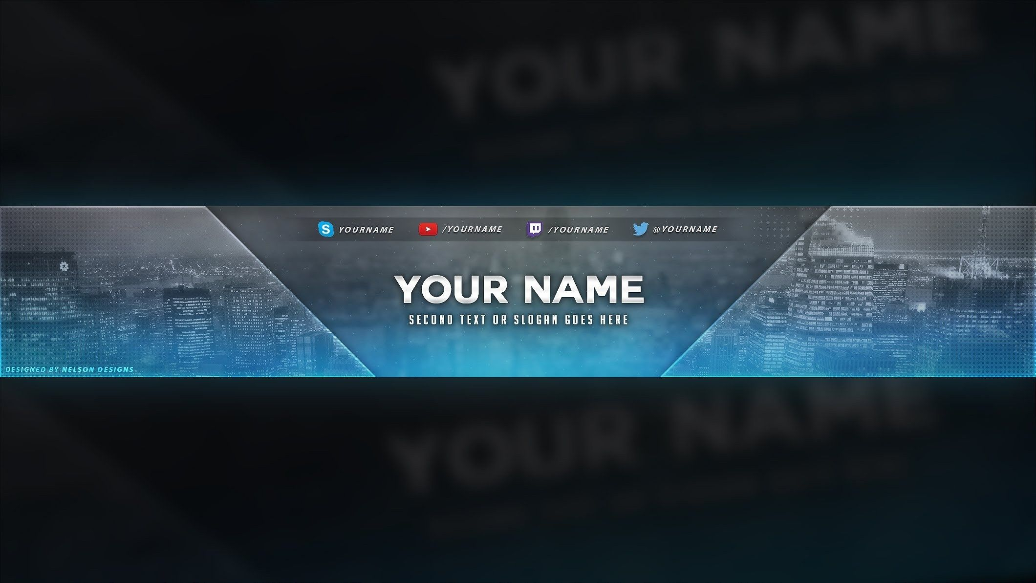 4 Free Youtube Banner Psd Template Designs - Social Media In Yt Banner Template