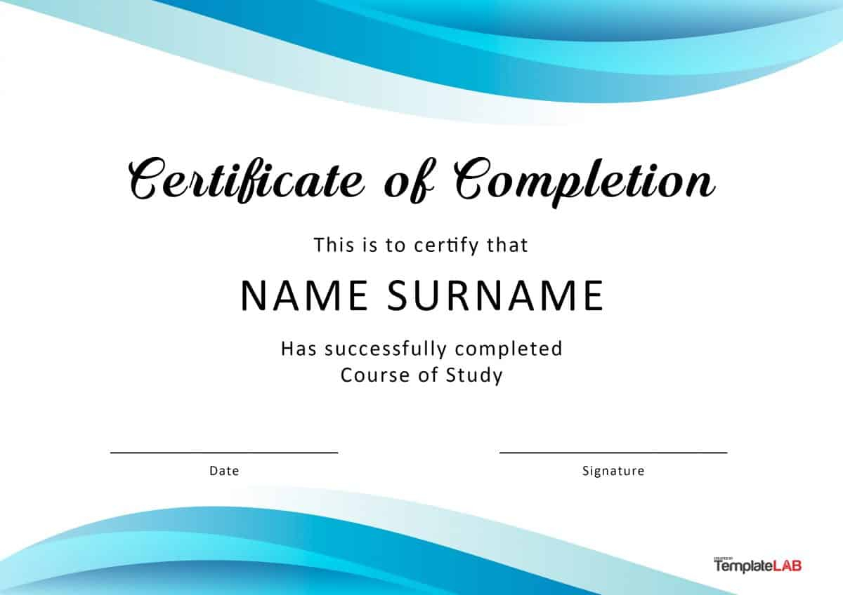 40 Fantastic Certificate Of Completion Templates [Word Within Free Training Completion Certificate Templates