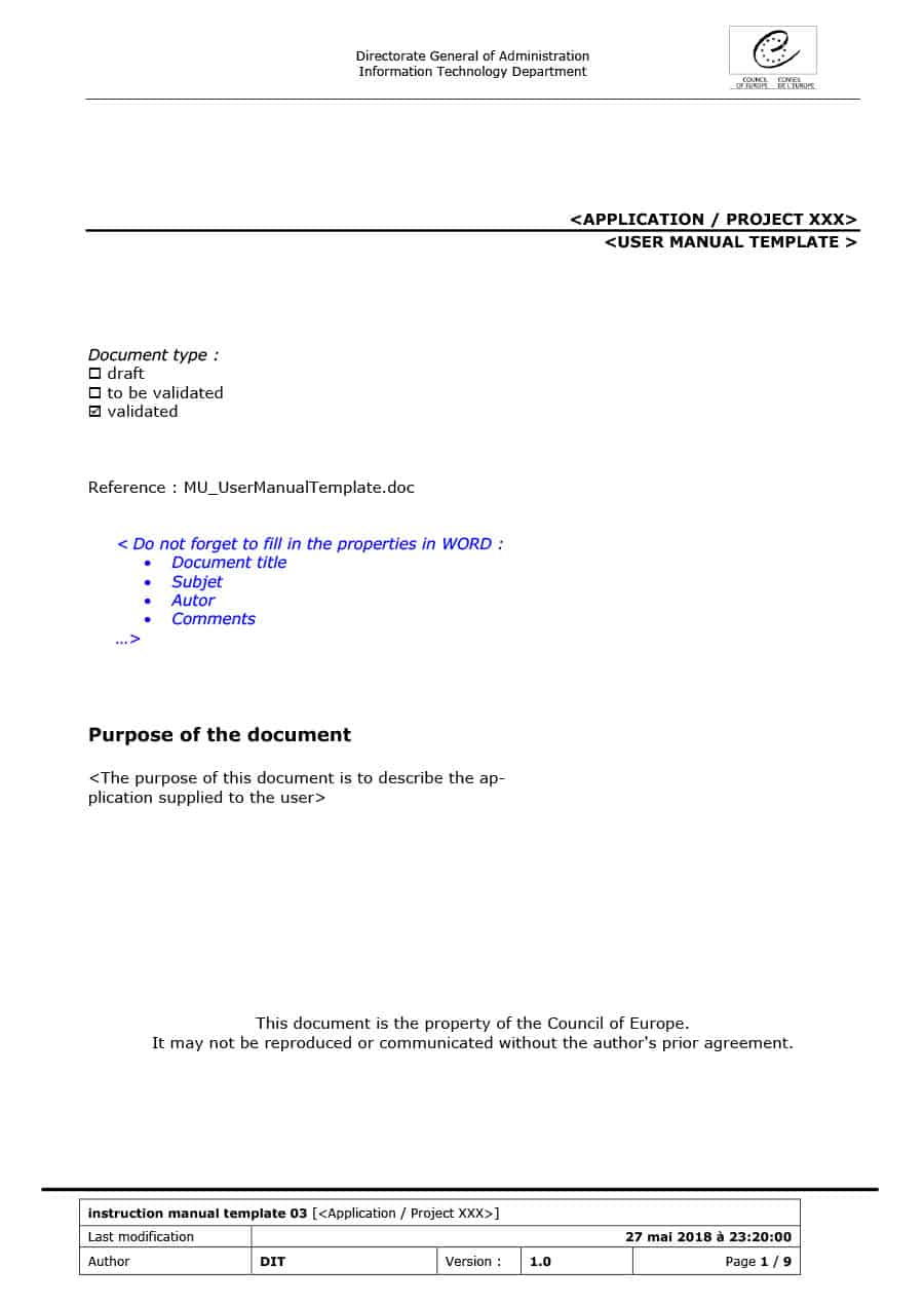 40 Free Instruction Manual Templates [Operation / User Manual] With Instruction Sheet Template Word