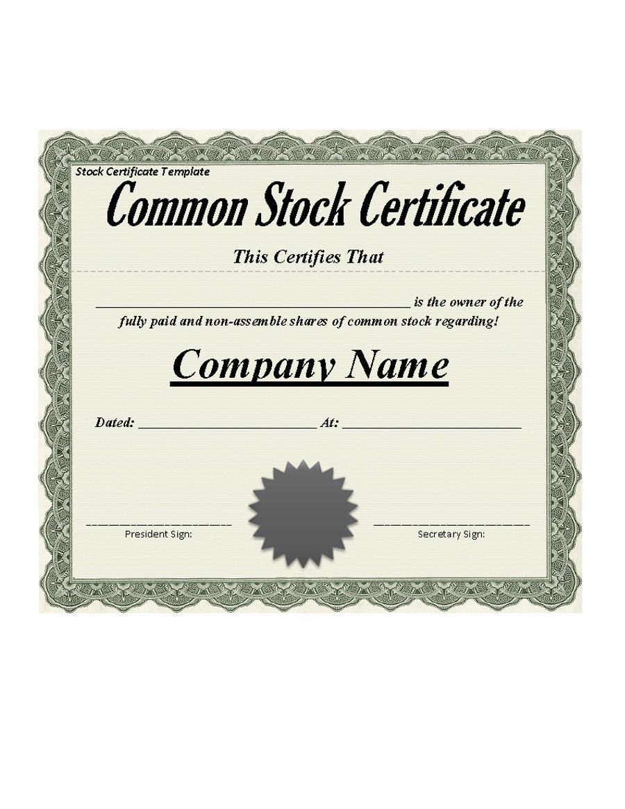 40+ Free Stock Certificate Templates (Word, Pdf) ᐅ Template Lab Intended For Stock Certificate Template Word