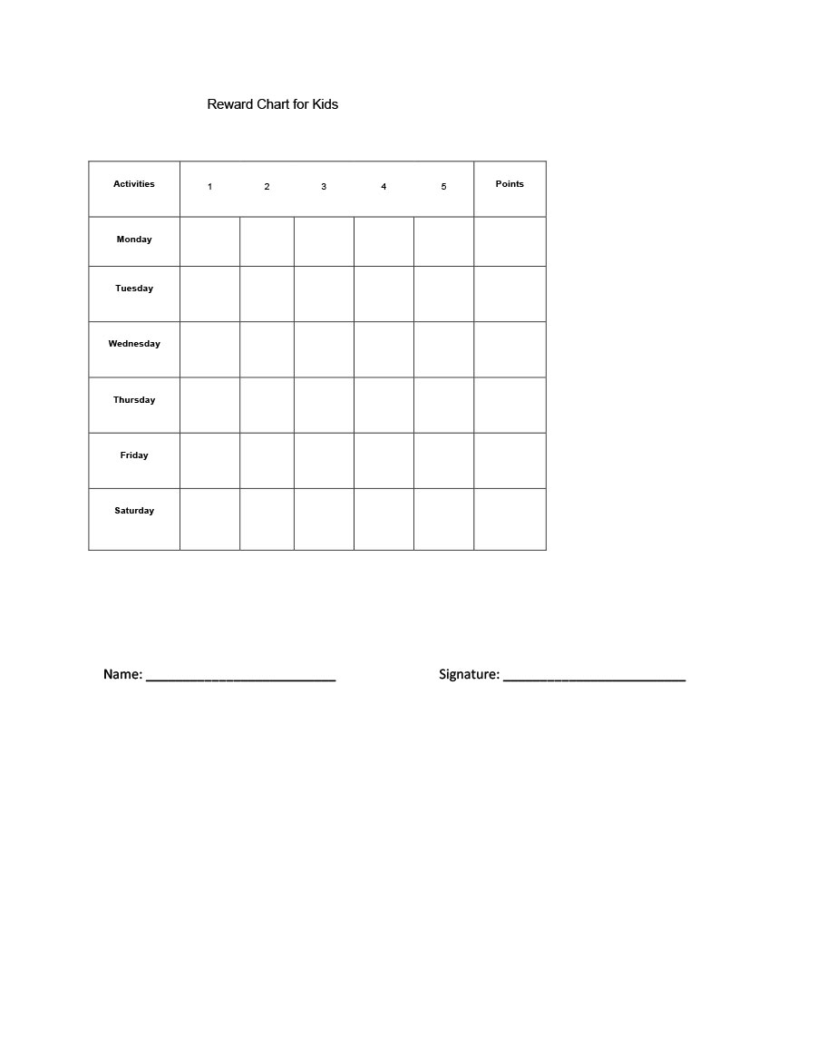 40 Printable Reward Charts For Kids (Pdf, Excel & Word) With Reward Chart Template Word