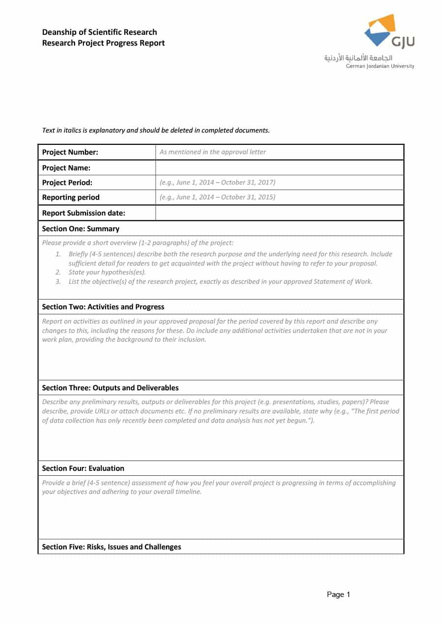 40+ Project Status Report Templates [Word, Excel, Ppt] ᐅ In Research Project Progress Report Template