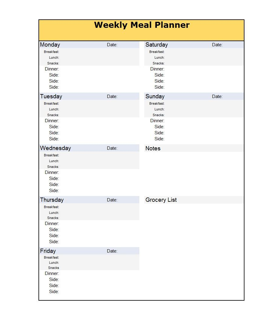 40+ Weekly Meal Planning Templates ᐅ Template Lab Intended For Meal Plan Template Word