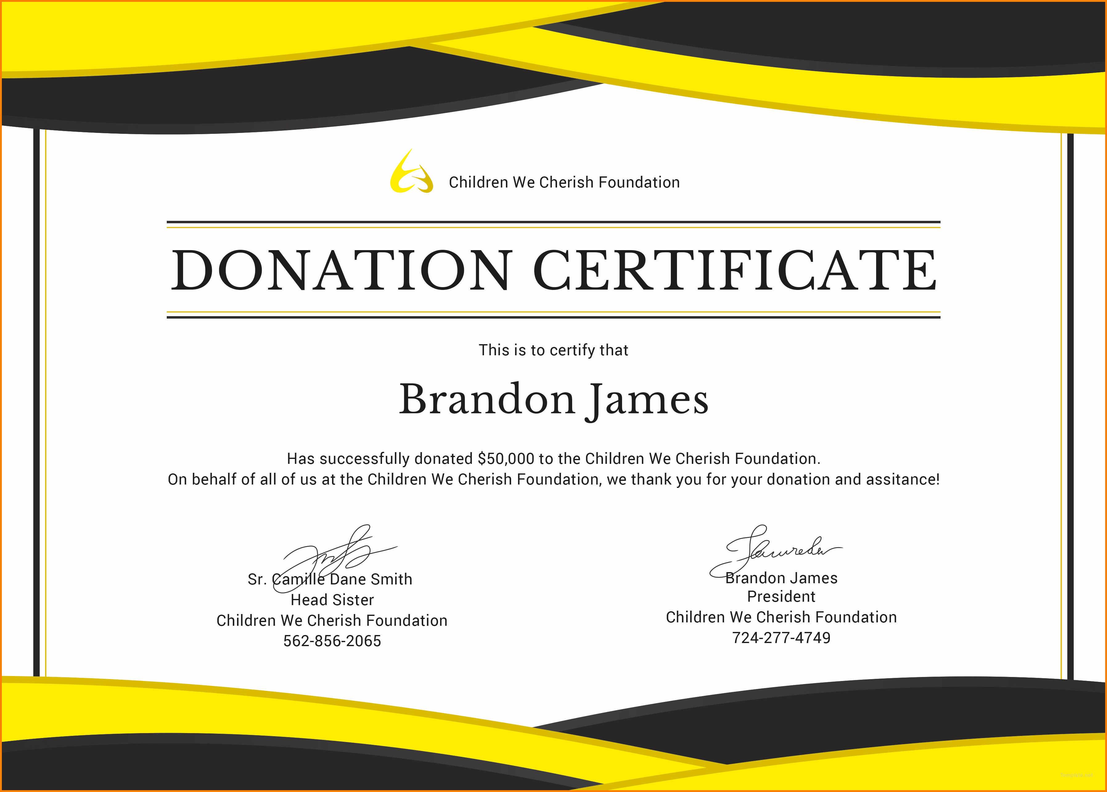 5+ Donation Certificate Template | Instinctual Intelligence Within Donation Certificate Template