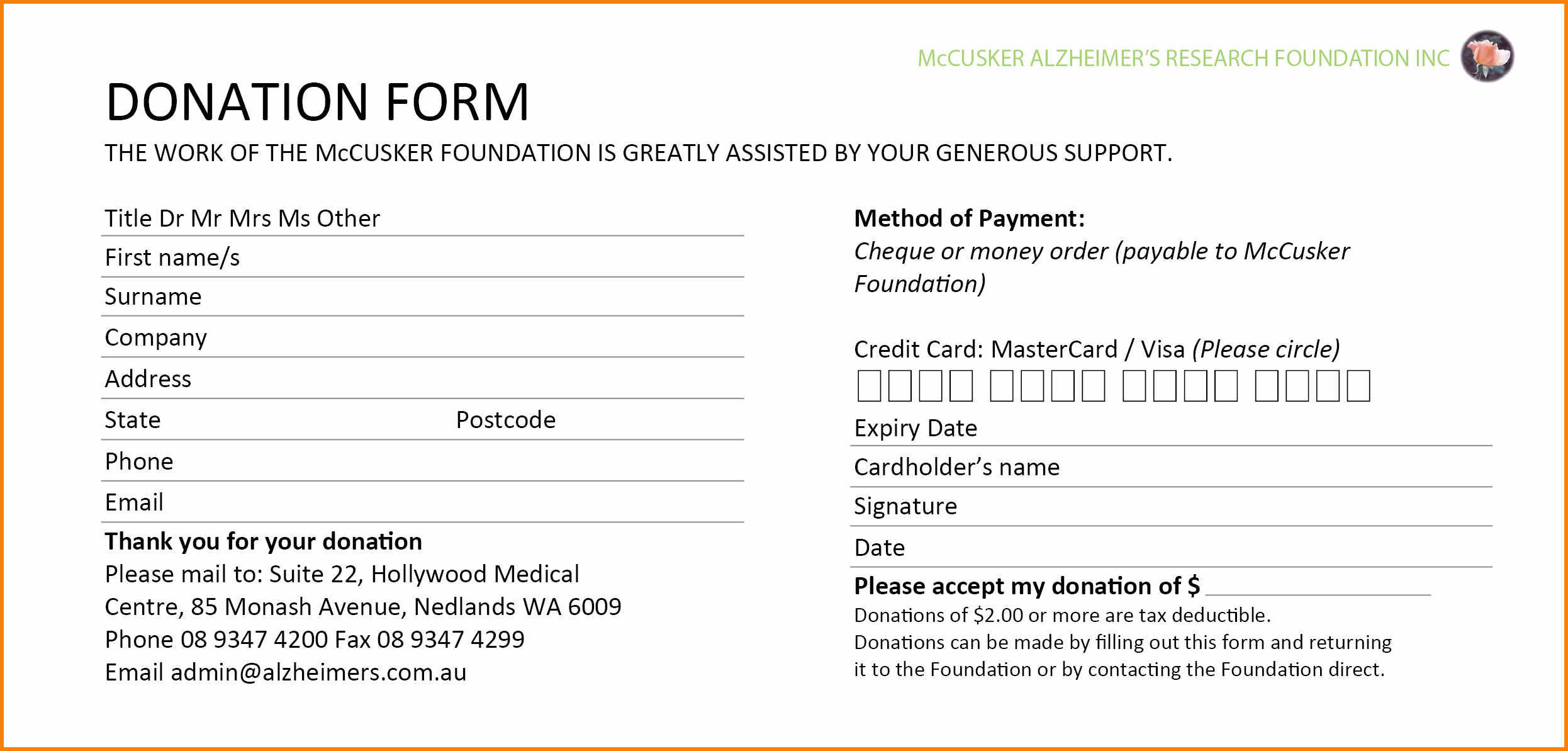 5+ Donation Forms Templates Free | Instinctual Intelligence In Donation Card Template Free