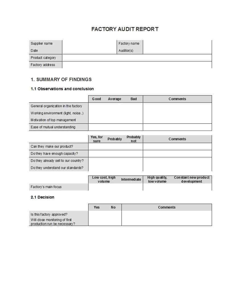 50 Free Audit Report Templates (Internal Audit Reports) ᐅ Within Audit Findings Report Template