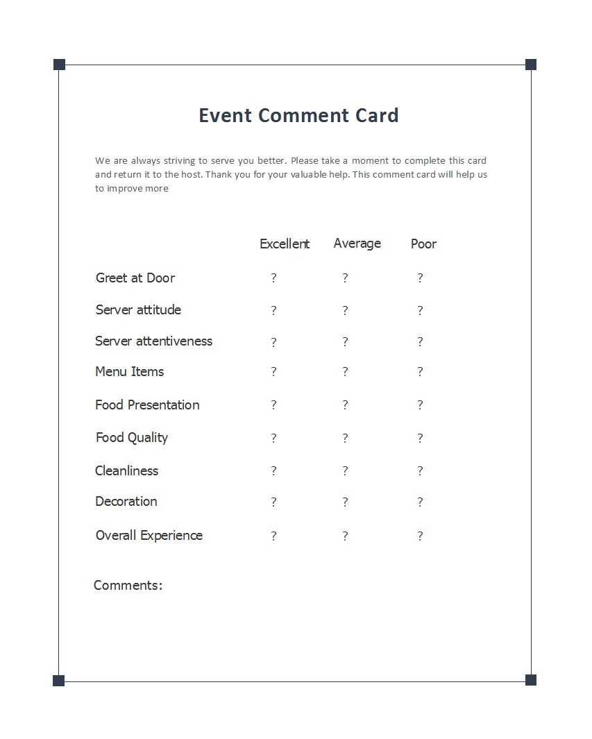 50 Printable Comment Card & Feedback Form Templates ᐅ Throughout Comment Cards Template