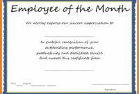 6+ Certificate Of Best Employee   Weekly Template Within Best Employee Award Certificate Templates