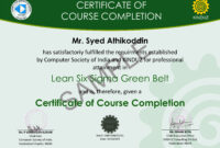 7 Best Photos Of Lean Six Sigma Green Belt Resume Examples for Green Belt Certificate Template