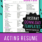 8X10 Actor Resume Templates – Instant Download Acting Resume In Theatrical Resume Template Word