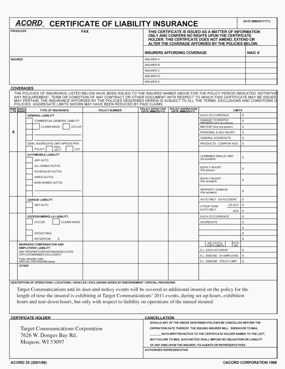 Acord 25 Fillable 2016 Elegant Accord Form – Free Fillable Inside Acord Insurance Certificate Template