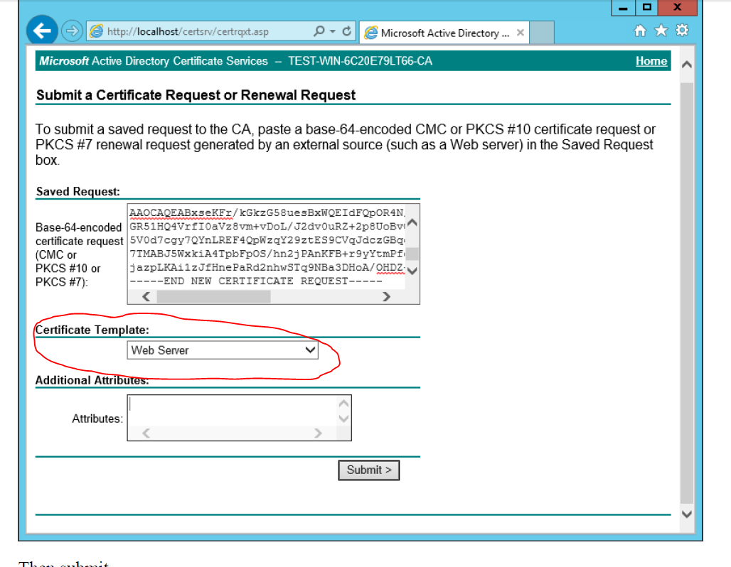 Ad Certificate Services - The Combobox To Select Template Is With Active Directory Certificate Templates