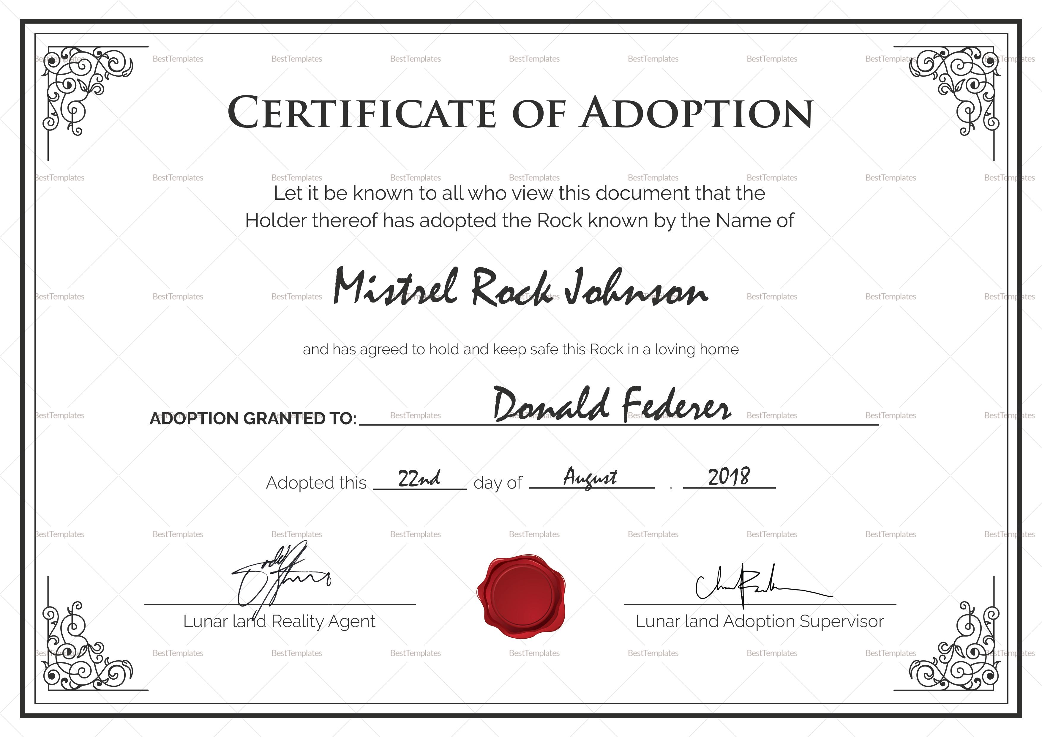 Adoption Birth Certificate Template In Adoption Certificate Template