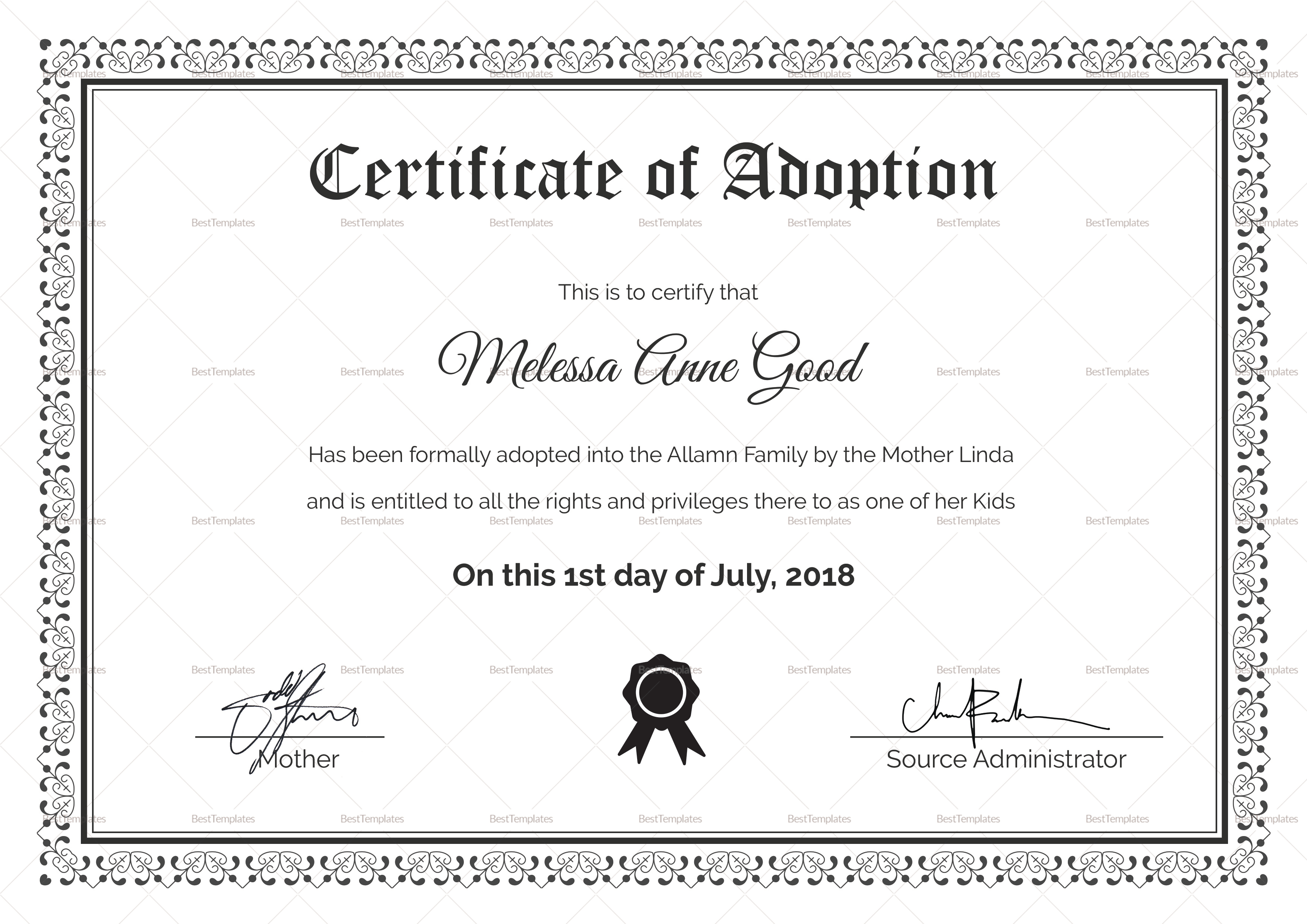 Adoption Certificate Design Template Intended For Adoption Certificate Template