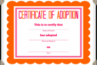 Adoption Certificate Template – Certificate Templates Inside intended for Blank Adoption Certificate Template