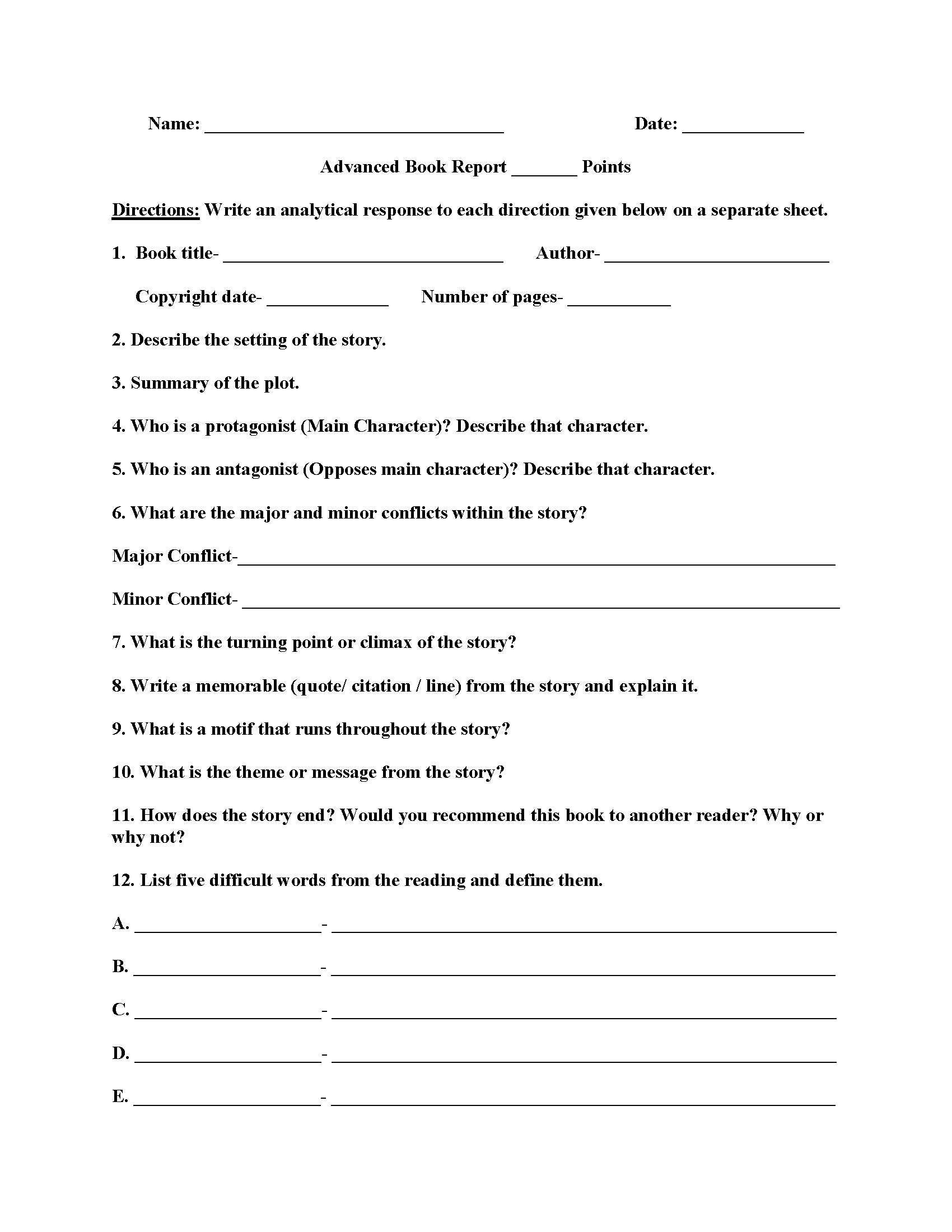 Advanced Book Report Worksheets | English | Book Report With Regard To Book Report Template In Spanish