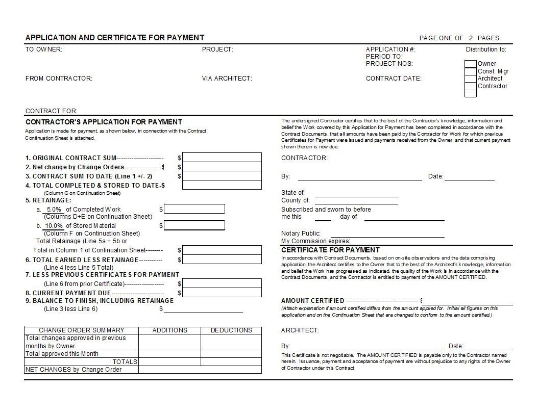 Aia G702 And G703 Style Application For Payment And Regarding Certificate Of Payment Template
