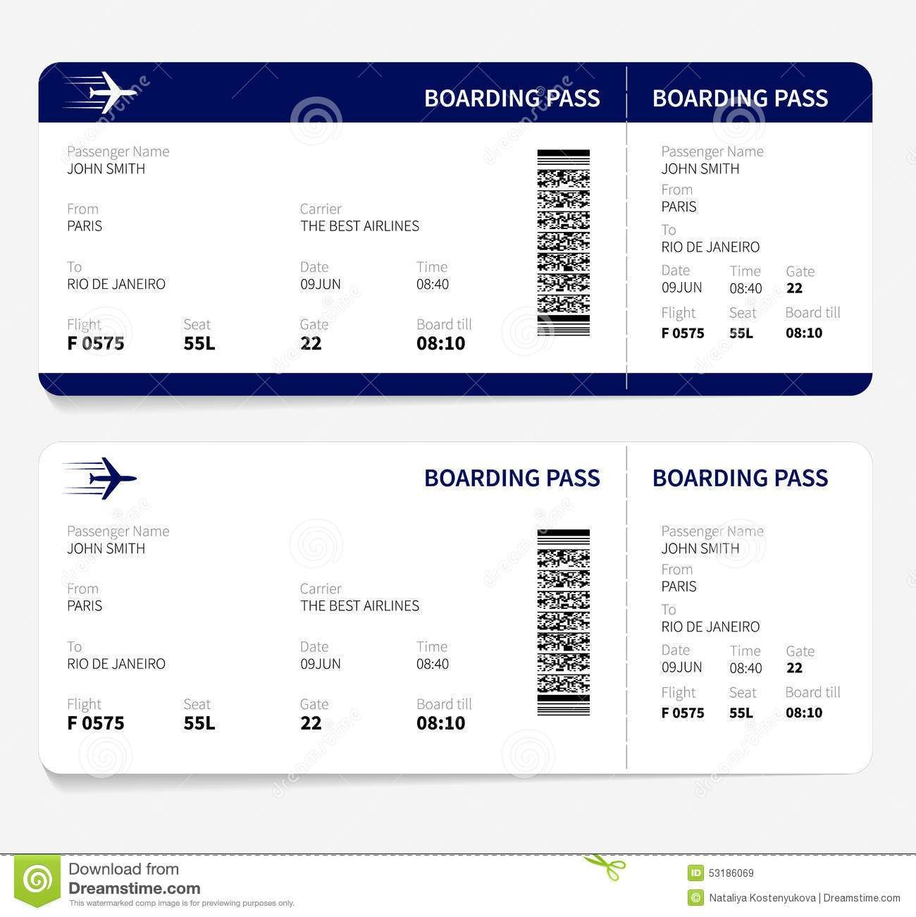 Airline Ticket Template Free Sample Customer Service Resume Pertaining To Plane Ticket Template Word