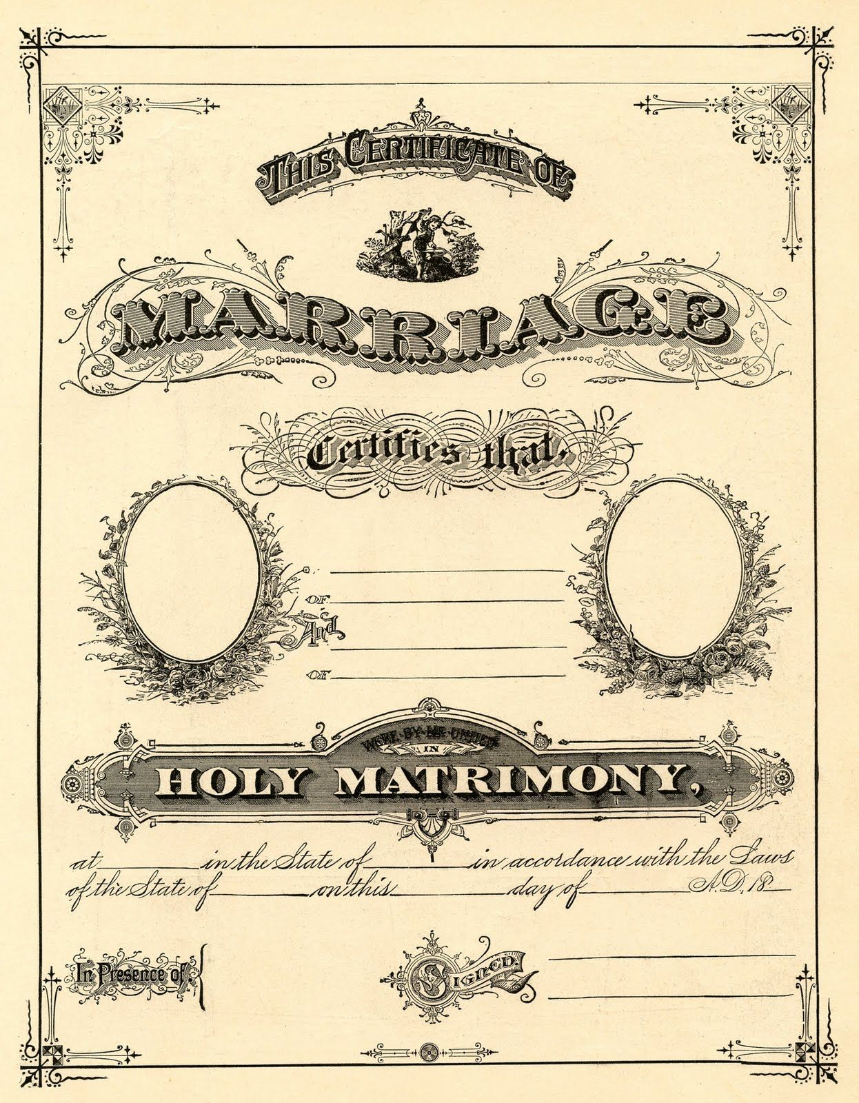 Antique Ephemera Clip Art - Printable Marriage Certificate With Regard To Blank Marriage Certificate Template